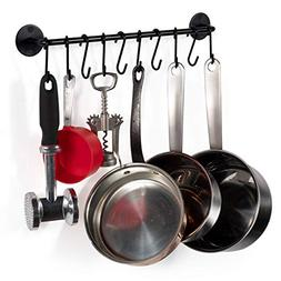 Wall Mount Hanging Pot Pan Rack Organizer Storage Holder Kit