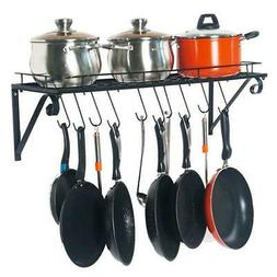 Wall Mount Kitchen Pot Pan Utensils Rack Cookware Holder Han