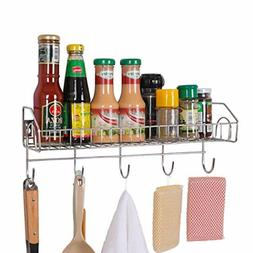 Wall Mount Kitchen Spice Rack Organizer With Utensil Hooks H