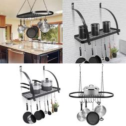 Wall Mount Pot Pan Hanging Rack Kitchen Cookware Storage Org