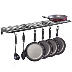 MyGift Wall Mount Pot Rack, Kitchen Storage Shelf w/ Pan & U