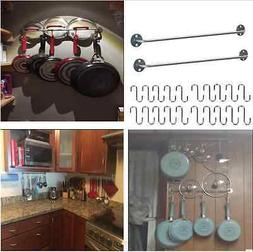 Wall Mount Rail 20 S Hooks Set Utensil Pot Pan Lid Holder Ra