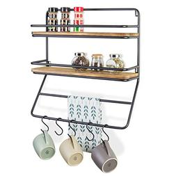 MyGift Wall-Mounted 2-Tier Shelf Rack with Towel Bar & 5 Rem
