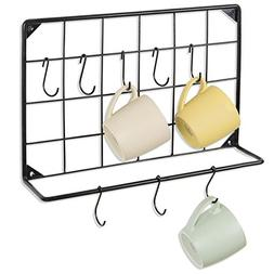 MyGift Wall-Mounted Coffee Mug & Utensil Hanging Rack with 8