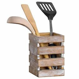 MyGift Whitewashed Torched Wood Cooking Utensil Holder with
