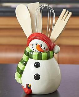Winter Snowman Shaped Utensil holder Red Cardinalis Wisk Spa