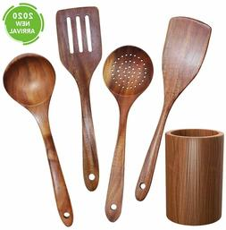 Wood Kitchen Cooking Utensils Set with Holder for Non Stick