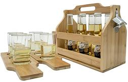 wooden bottle caddy with opener and sampler