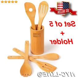 Wooden Cooking Utensil Set Bamboo Spoons Spatulas Kitchen Ba