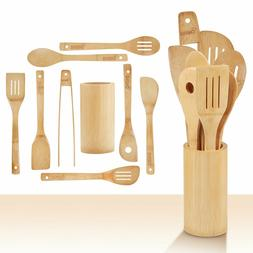 Wooden Kitchen Utensils Set - 9 Piece Bamboo Cooking Tools a