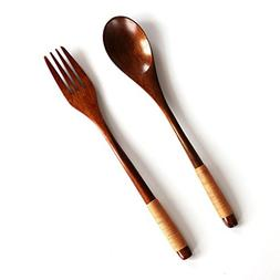 LiPing 8.87in Wooden Long Handle Spoons Bamboo Kitchen Cooki