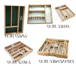 WOODEN SMALL LARGE CUTLERY UTENSIL TRAY HOLDER DRAWER ORGANI