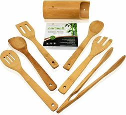 Wooden Kitchen Utensils Set - 7 Piece Bamboo Cooking Tools a