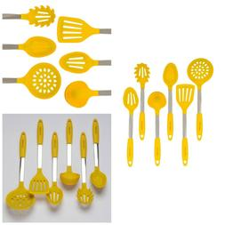 Yellow Cooking Utensil Set - Stainless Steel & Silicone Heat